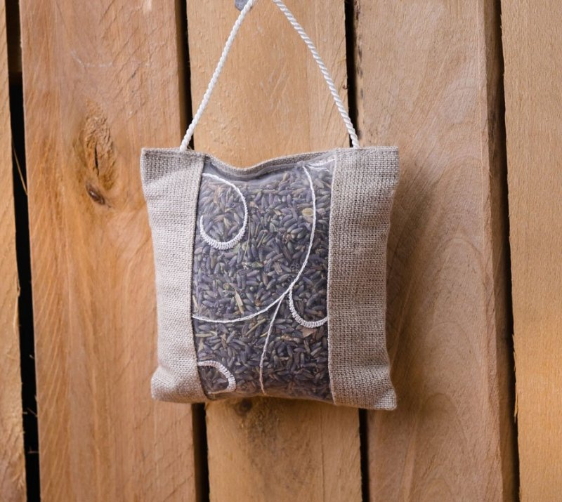 Flax Bag with  Dry Lavender Flower 10x10cm
