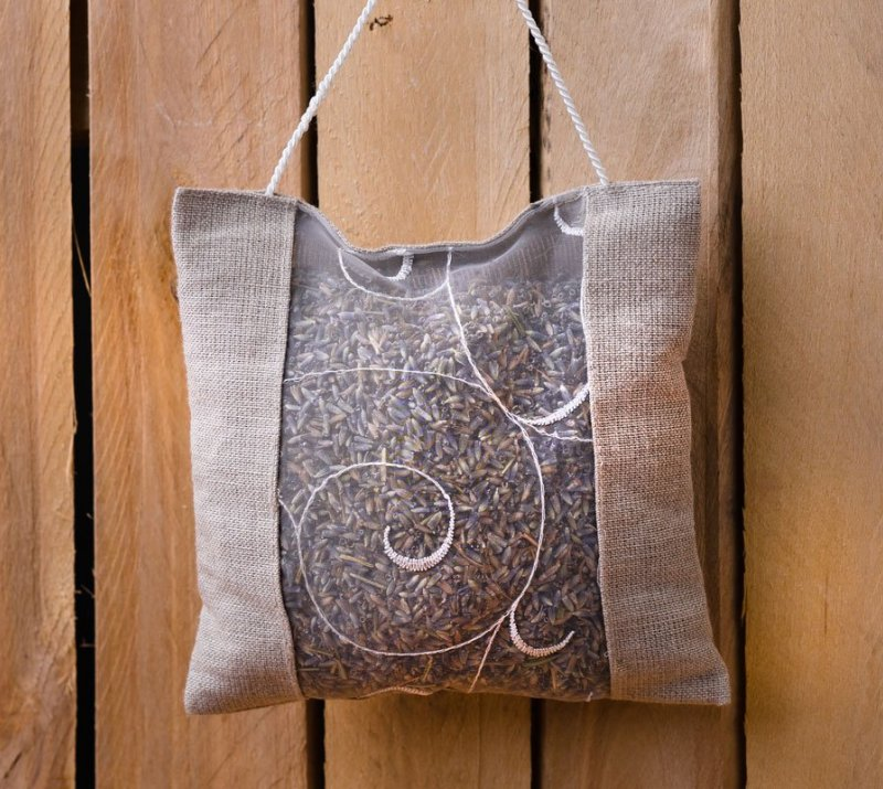 Flax Bag with  Dry Lavender Flower 15x15cm