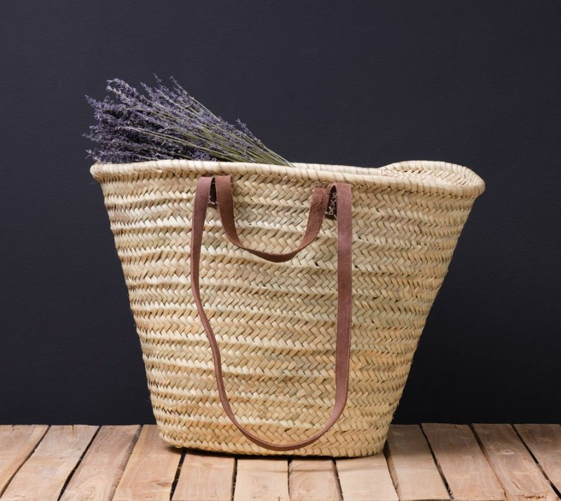 Natural Oval Basket With a long Leather Handle.